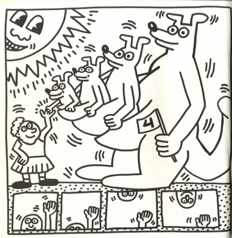 Pages from Keith Haring\'s rare, decidedly safe-for-kids coloring ...