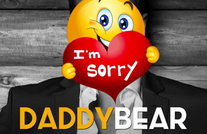 "DaddyBear logo with an ""I'm sorry"" emoji on top of it"
