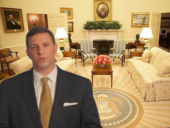 A cutout of Mike Yenni in the Bush Oval Office
