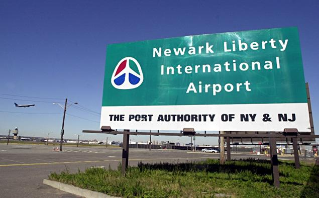Sign for the Newark Liberty International Airport