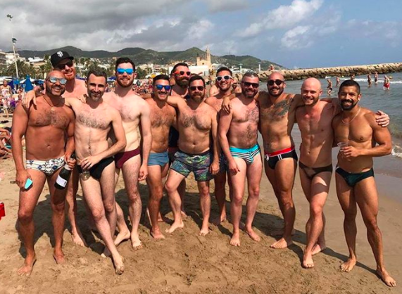 Burly bears on the beach in Sitges