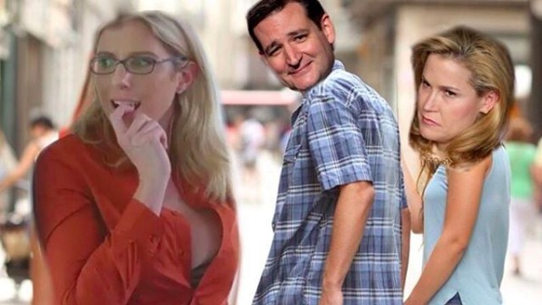 A meme of Ted Cruz checking out an adult film actress