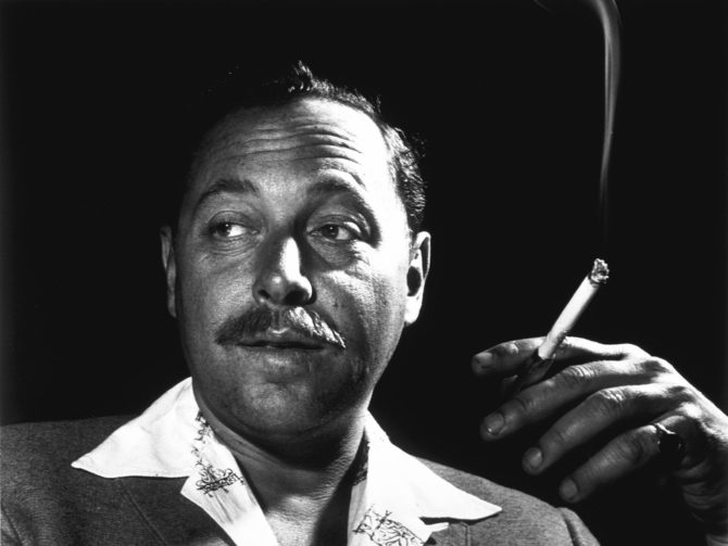 A portrait of Tennessee Williams smoking a cigarette