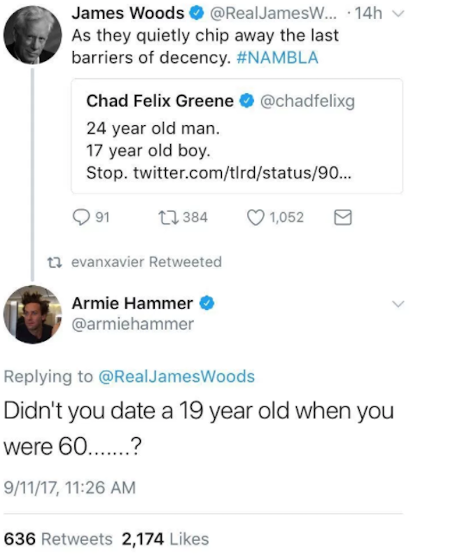 Armie Hammer drags James Wood for age-gap dating history