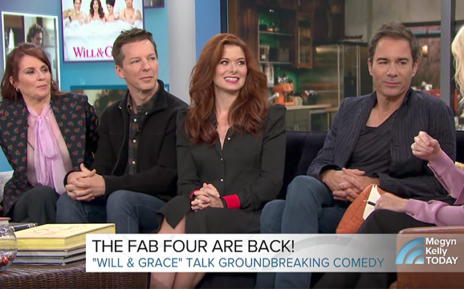 The cast of Will & Grace look less than thrilled to be interviewed by Megyn Kelly