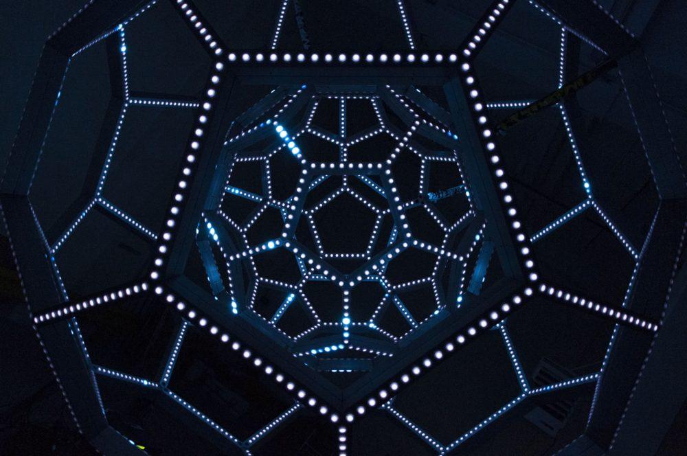 buckyball illuminate sf light art installation