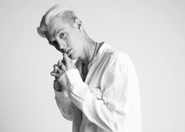 Aaron Carter in a white shirt