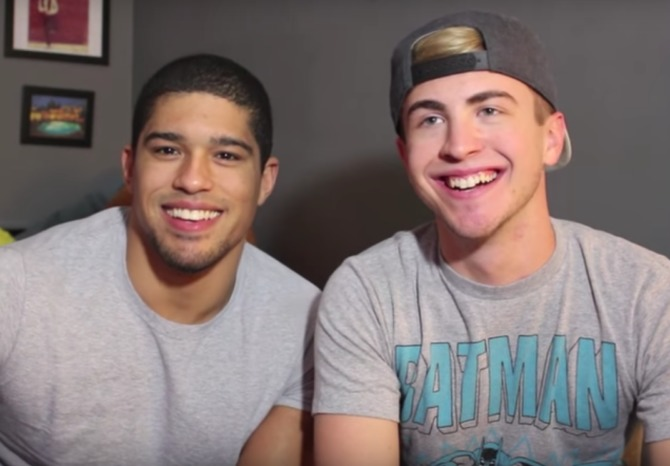 Anthony Bowens and his boyfriend, who is wearing a backwards baseball hat