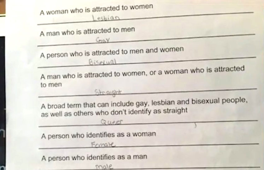 Homosexual test quiz