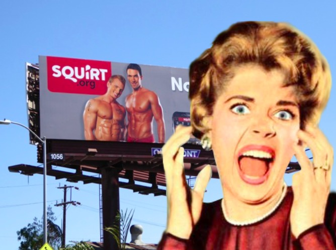 Woman screaming in front of a Squirt.org billboard
