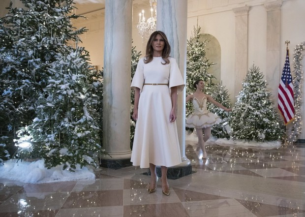 the white house unveiled its official christmas decorations this week and theyre gloomy af the cheerless decorations were designed by first lady melania