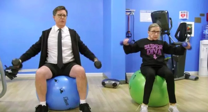 Colbert struggles to keep up with Bader Ginsburg workout routine