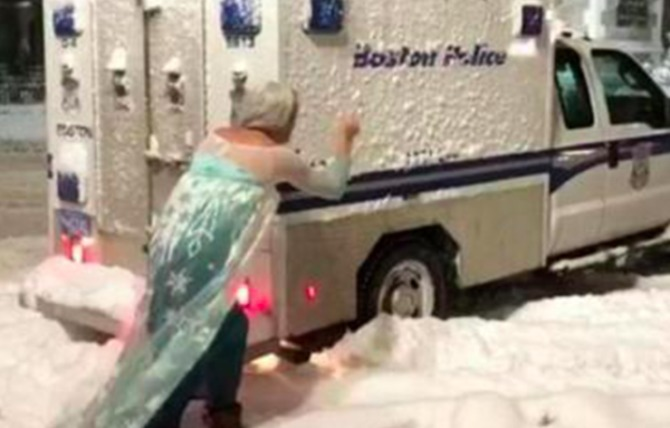 Frozen's Queen Elsa braves the snow again to help Boston police