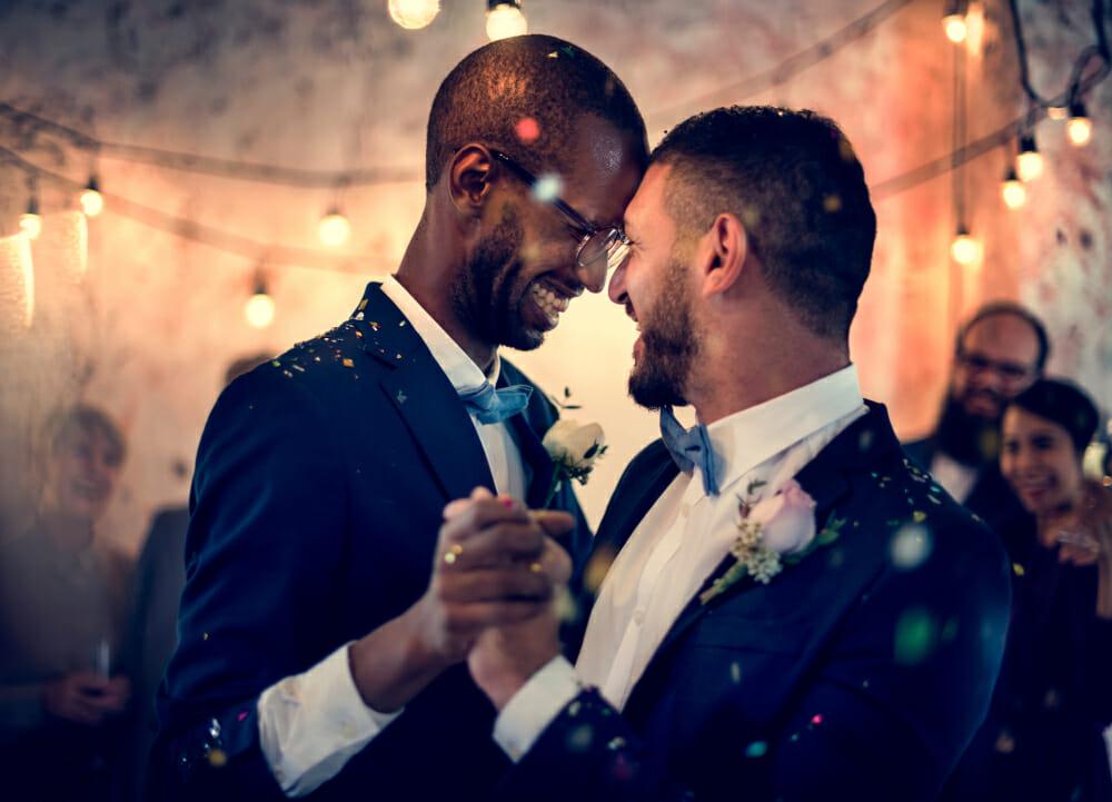 A gay couple celebrates their wedding day