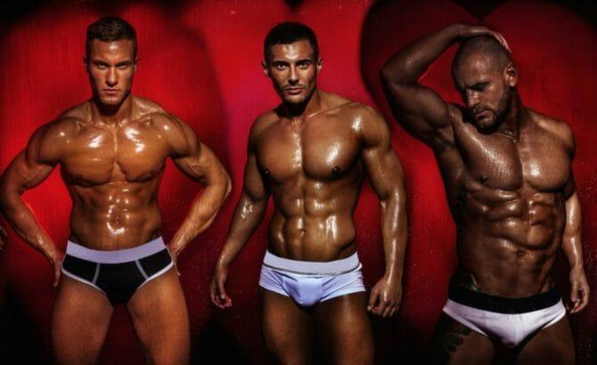 Men pose in their underwear