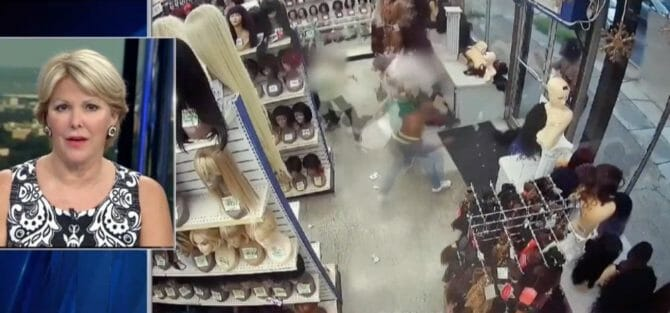 News footage of wig robbery