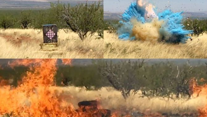 Stills from a video of a gender reveal stunt that caused a massive wildfire