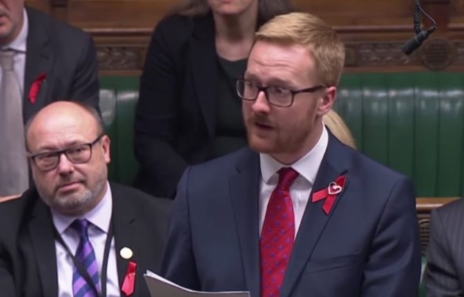 British PM Lloyd Russell Moyle addresses the House of Commons