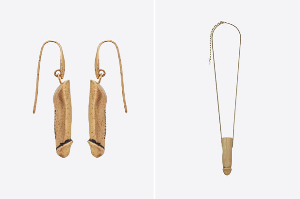 penis jewelry, penis earrings and a penis pendant necklace from Yves Saint Laurent