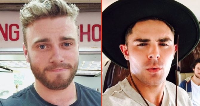 A close up of Zac Efron and Gus Kenworthy posing for the camera