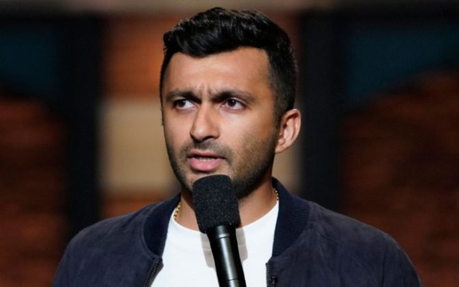 comedian nimesh patel doing standup routine