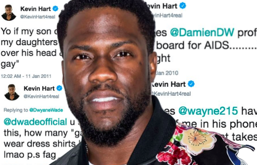 Kevin Hart superimposed over his homophobic tweets