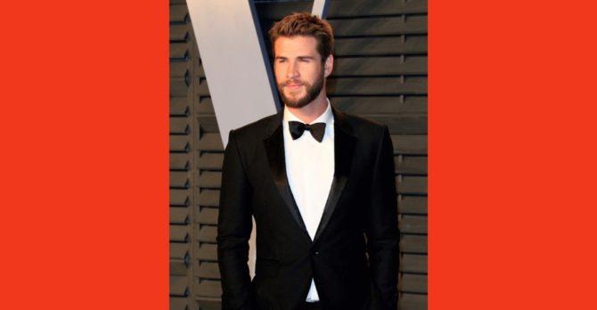 Actor Liam Hemsworth in a tuxedo