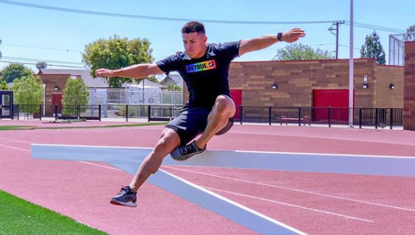 David Perez trains on the track