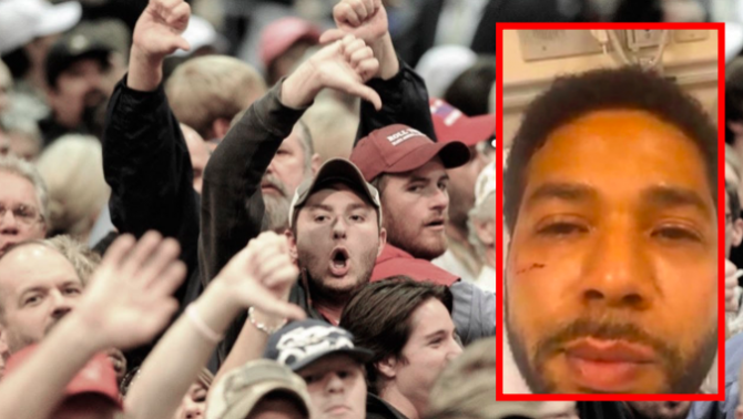 Jussie Smollett and an angry group of people