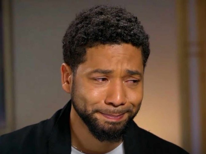 Jussie Smollett teary eyed