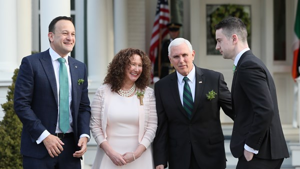 Leo Varadkar and Matthew Barrett, right, with Mike and Karen Pence