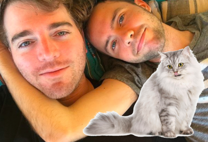 Shane Dawson, his boyfriend, and a cat