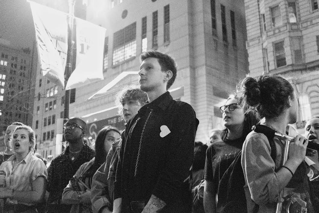University of the Arts in Philadelphia student Joseph McAndrew leads a protest against prof Camille Paglia
