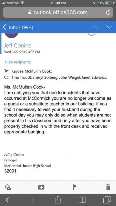 McCormick Junior High has not reinstated the teacher fired