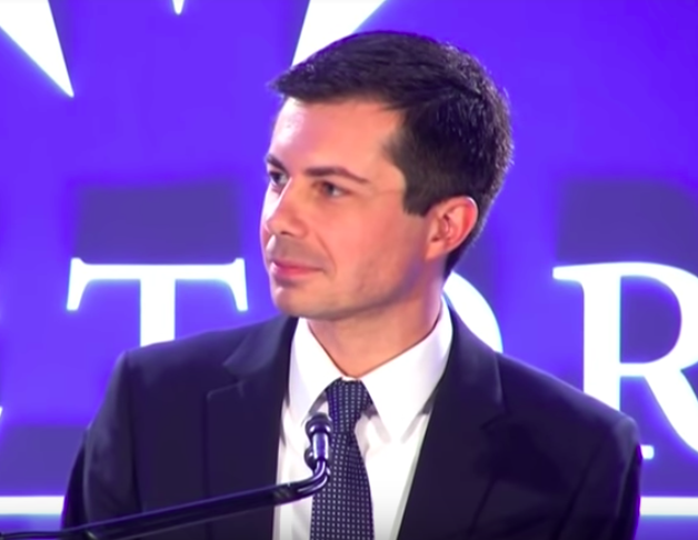 Pete Buttigieg speaking at Victory Fund