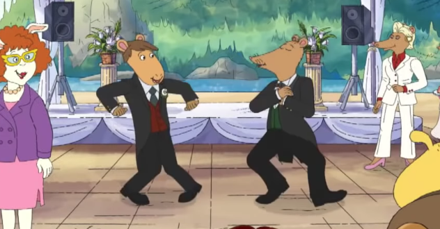 Mr. Ratburn and his husband dancing