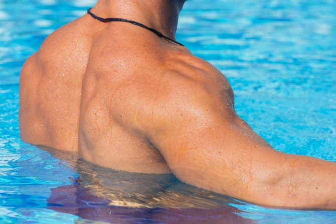 back of man in pool