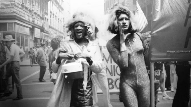 Marsha P. Johnson and Sylvia Rivera at original Pride in New York