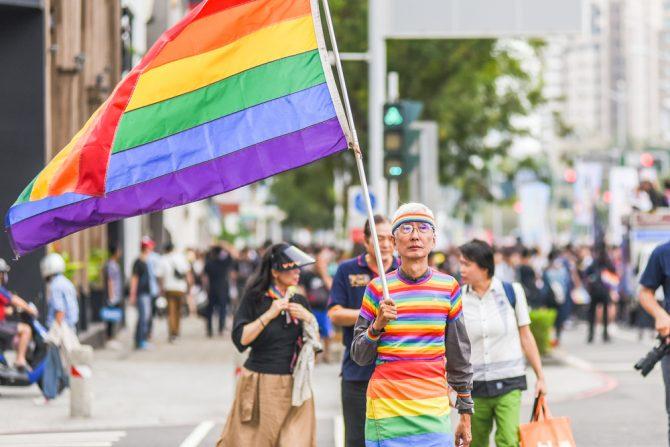 Taiwan marriage equality, rainbow flags