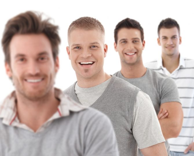 group of men in a row