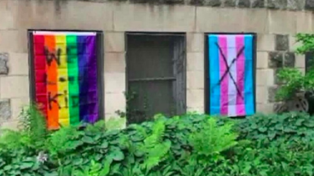 Chicago, Wikcer Park, Wicker Park Lutheran Church, vandalized Pride flags