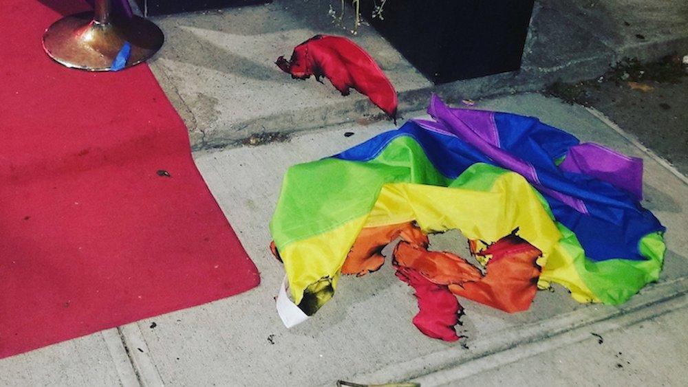 Rainbow flag, Alibi Lounge, New York City, Harlem, burn
