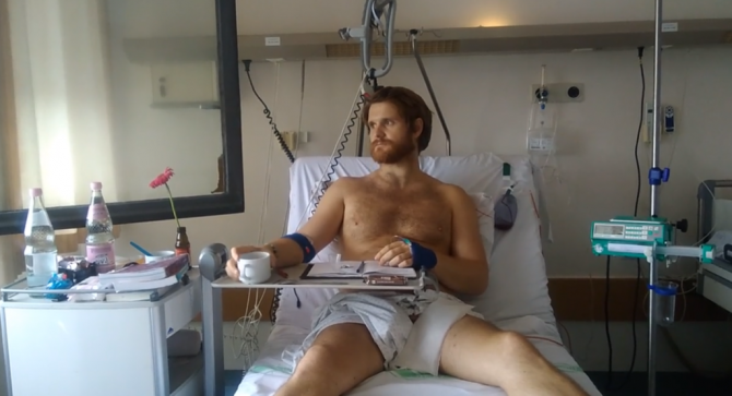 Danny Harrop-Griffiths in a hospital bed