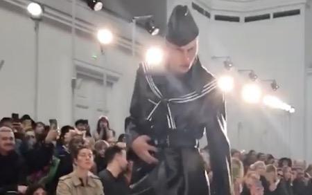 Model Leon Dame at Paris Fashion Week.