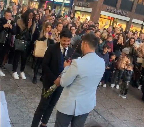WATCH: Elaborate gay marriage proposal sends crowds cheering, goes viral