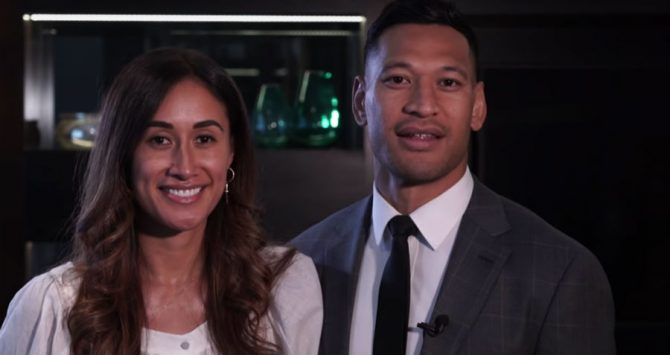 Maria and Israel Folau react to news of the settlement with Rugby Australia