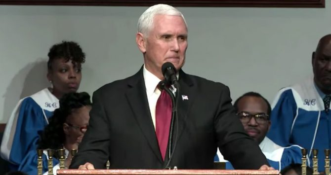Vice President Mike Pence at the Holy City Church of God in Christ in Memphis, Tennessee on Sunday