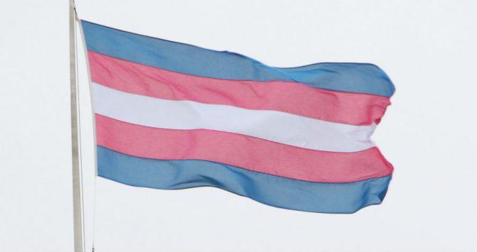A transgender flag flies in London, UK