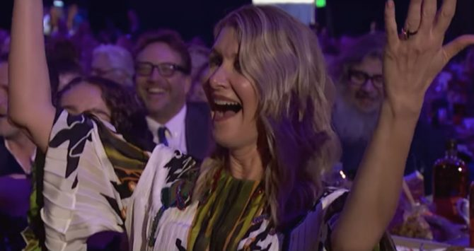 Laura Dern is serenaded by the Gay Men's Chorus