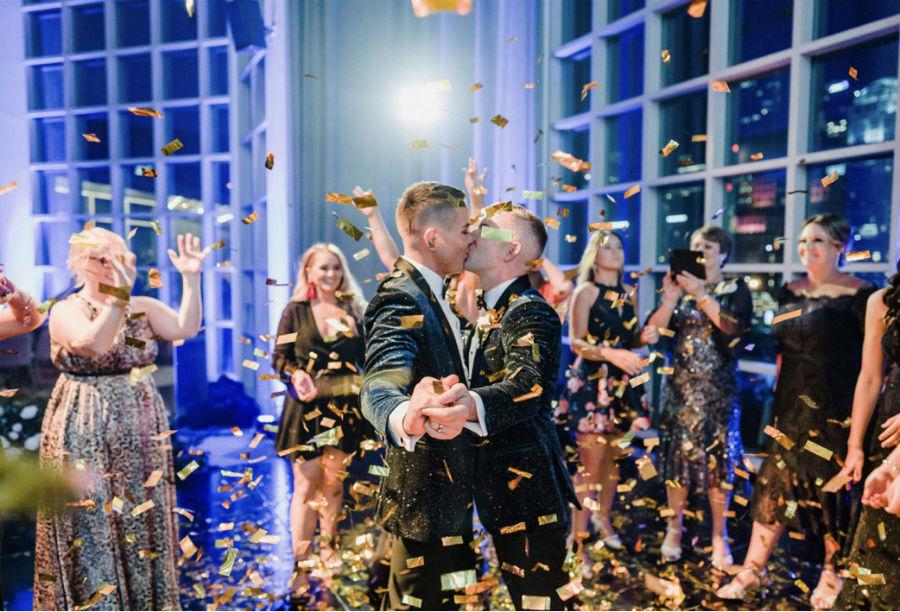 Confetti explosions at the reception